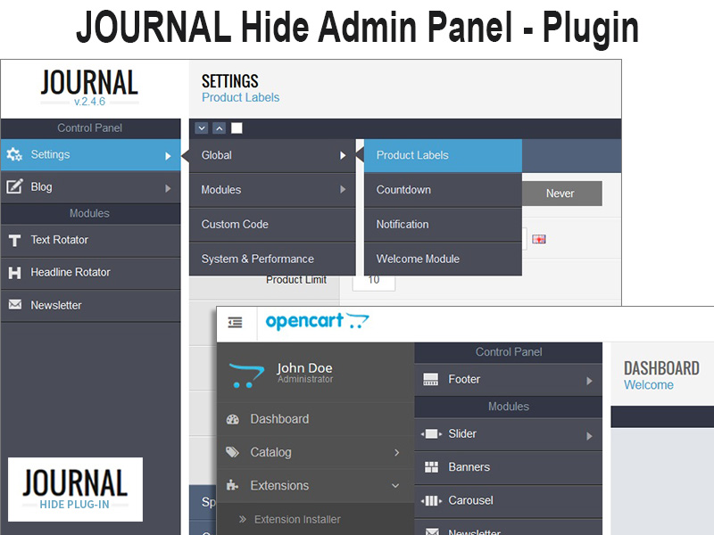 JOURNAL Hide Admin Panel / Menu Plugin