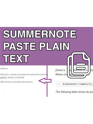 Summernote Paste Plain Text